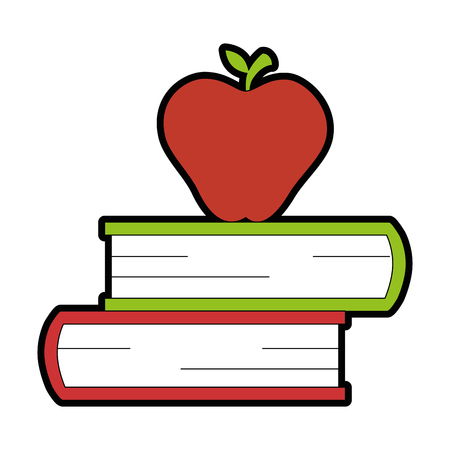 text books with apple vector illustration design