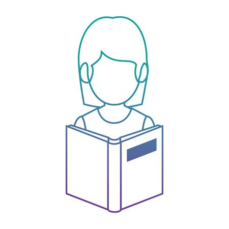 leraar vrouw met leerboek avatar vector illustratie ontwerp Stock Illustratie