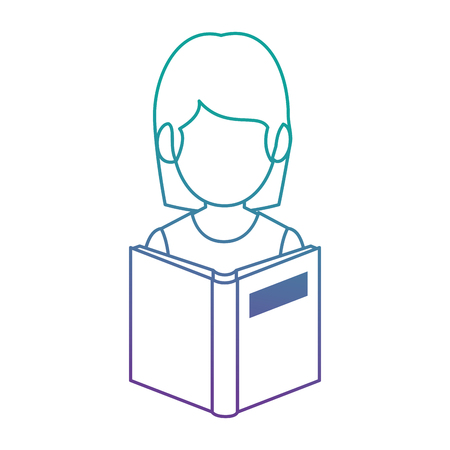 teacher woman with textbook avatar vector illustration design