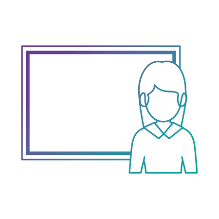teacher woman with chalkboard avatar vector illustration design Illustration