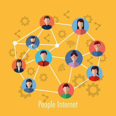 people internet connection network media community vector illustration