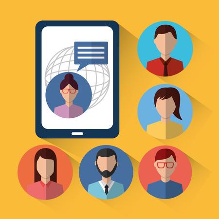 smartphone chat people internet community vector illustration Illustration
