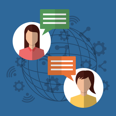 people internet communication dialog chatting bubbles vector illustration 向量圖像