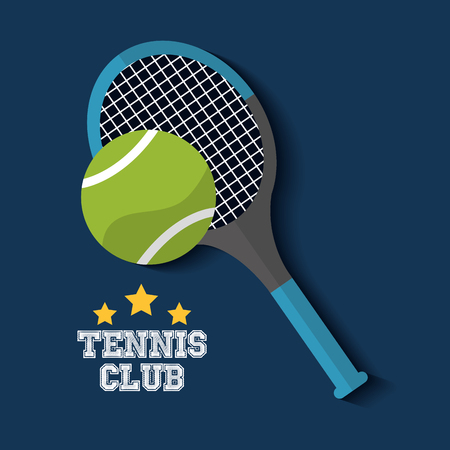 tennis club racket and ball sport vector illustration Illustration