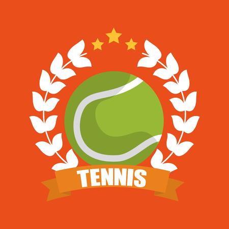 테니스 공 화환 로렐 배너 스포츠 벡터 일러스트 레이션