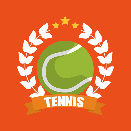 tennis ball wreath laurel banner sport vector illustration Çizim