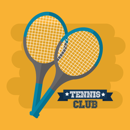 tennis club rackets sport equipment vector illustration