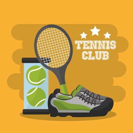 tennis club racket sneaker balls sport vector illustration Illustration