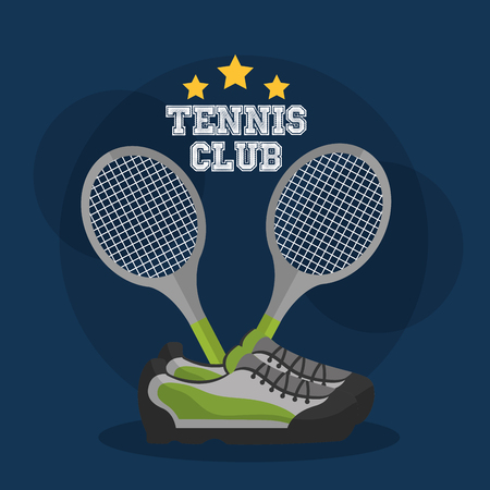 tennis club racket crossed and sneakers equipment vector illustration Illustration