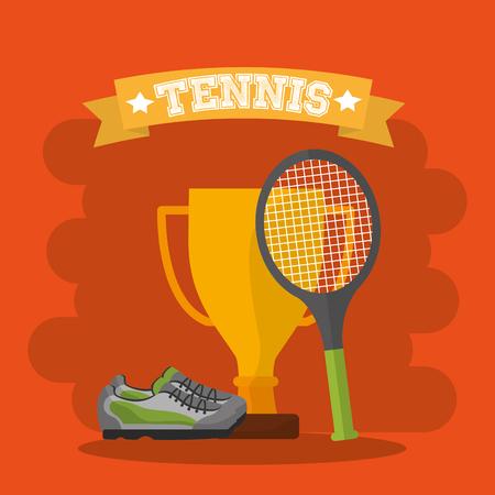 tennisracket trofee en sneaker afbeelding vector illustratie Stock Illustratie