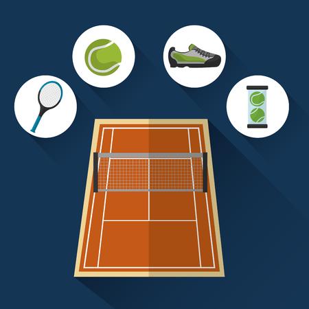 テニスコートグリッドラケットスニーカーボールスポーツベクトルイラスト