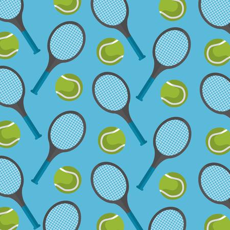 seamless pattern tennis ball and racket desing vector illustration