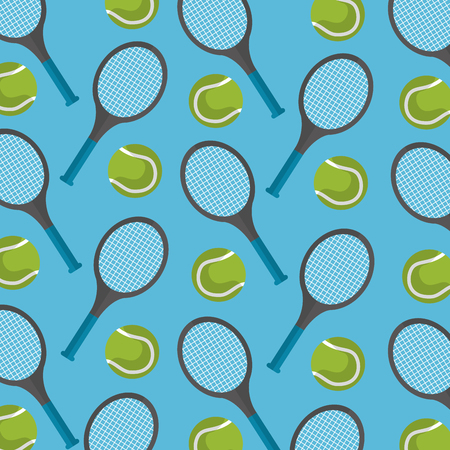 seamless pattern tennis ball and racket desing vector illustration