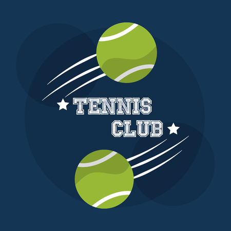tennis club balls speed sport competition vector illustration