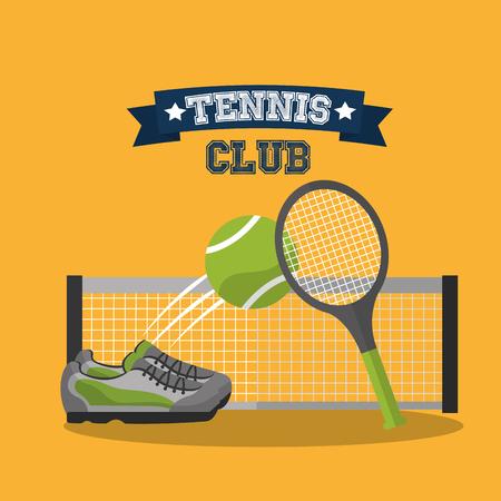 tennis club racket ball sneaker and grid banner vector illustration Illustration