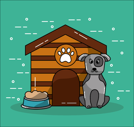 pet dog house and bowl food image vector illustration