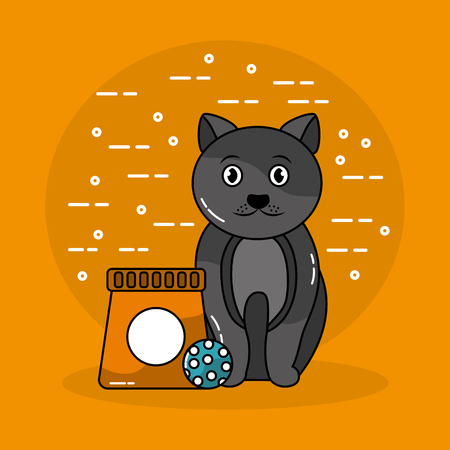 Chat animal assis avec sac à lunch et boule de jouet illustration vectorielle Banque d'images - 94225026