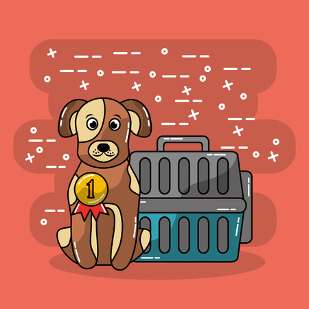 dog pet sitting with travel carrier vector illustration