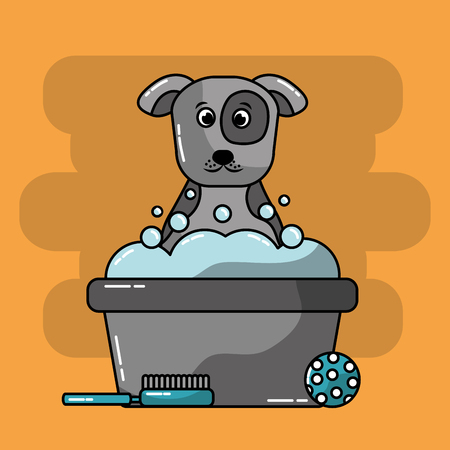 pet grooming dog bucket foam brush ball toy vector illustration