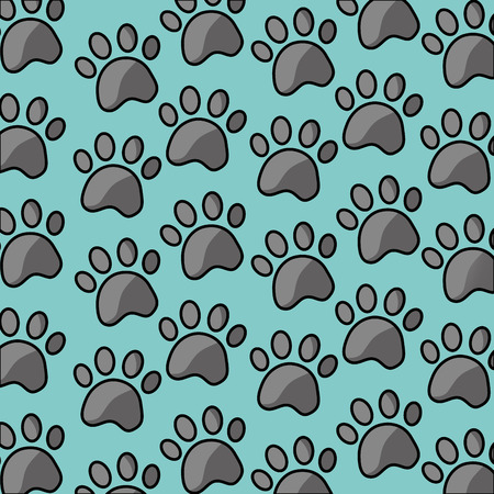 pet paw print dog cat seamless pattern vector illustration