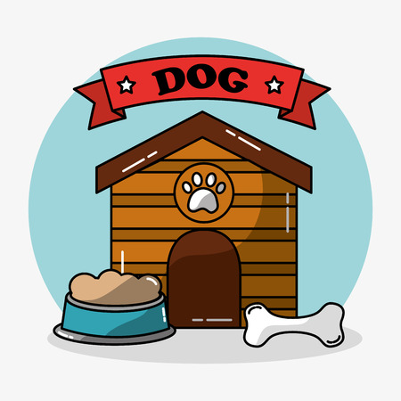 Pet dog house wooden and bowl food bone toy vector illustration