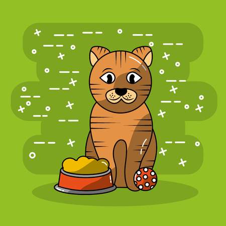 cat pet sitting with bowl food and ball toy vector illustration
