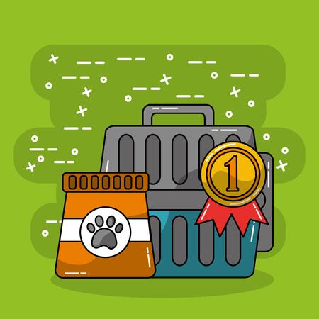 pet travel carrier and bag food care vector illustration