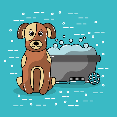 pet dog sitting with bucket wash grooming brush and ball vector illustration