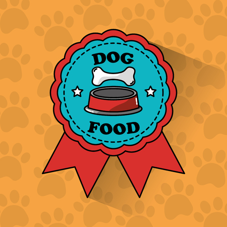 dog food pet medal ribbon banner vector illustration