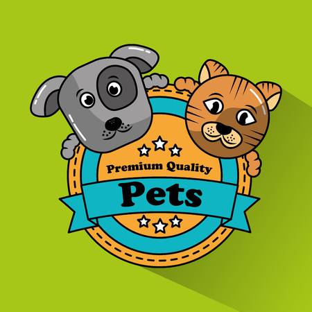 dog and cat pet premium quality badge vector illustration