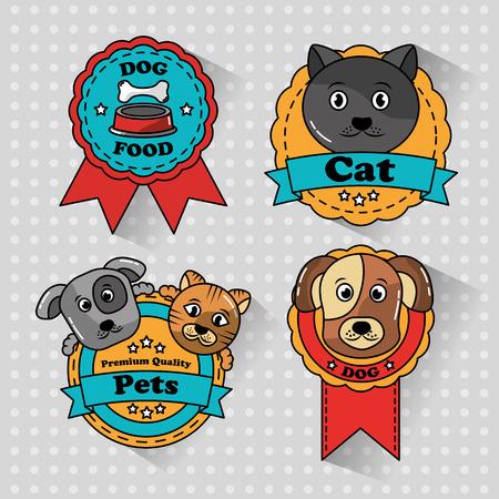 huisdier kat en hond medaille badges iconen vector illustratie