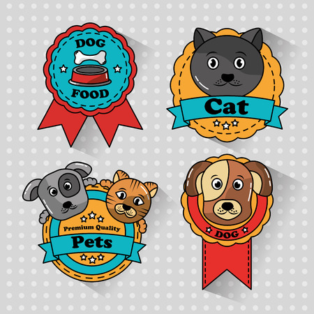 pet cat and dog medal badges icons vector illustration Çizim