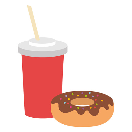 Delicious sweet donut with beverage vector illustration design. 写真素材 - 94260298