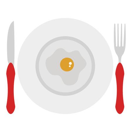 Schotel en bestek met ei gebraden vectorillustratieontwerp.
