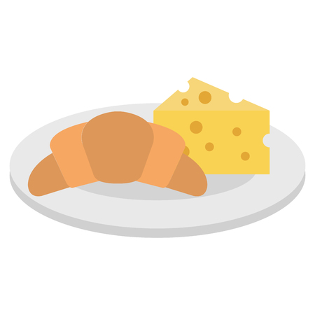 Delicious croissant bread with cheese vector illustration design.