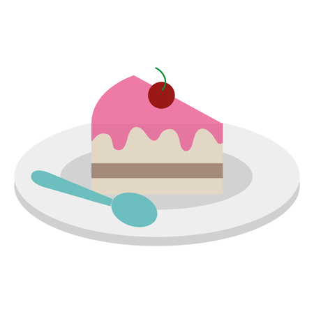 Dish with sweet cake and spoon vector illustration design. Illustration