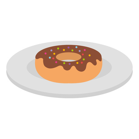 Dish with sweet donut icon vector illustration design. Illusztráció