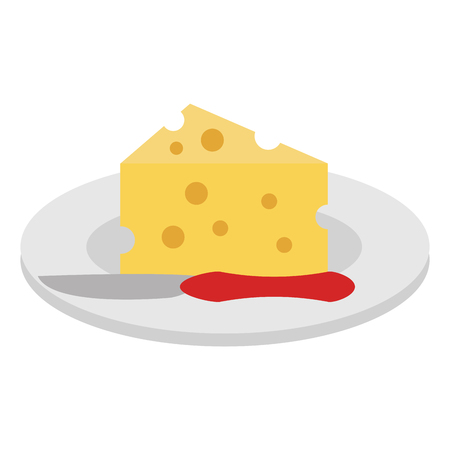 Dish with cheese piece and knife vector illustration design.