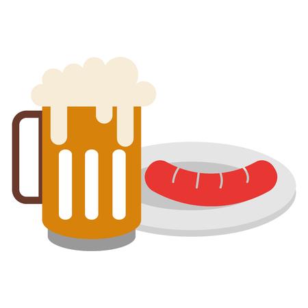 Jar beer fresh and sausage vector illustration design.