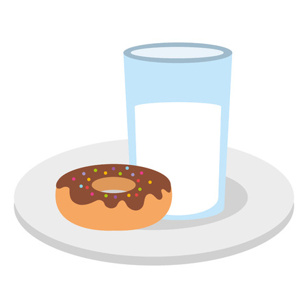 Dish with sweet donut and milk glass vector illustration design.