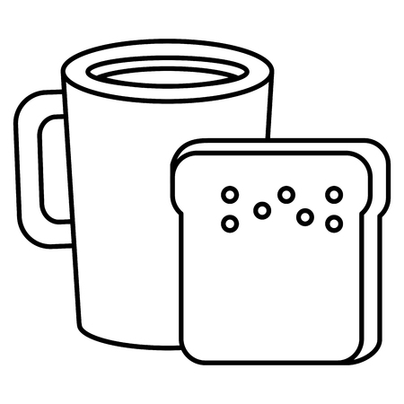 Coffee cup drink with toast bread vector illustration design