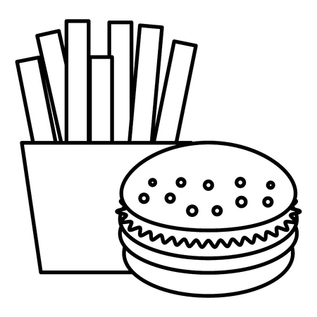 French fries with burger vector illustration design.