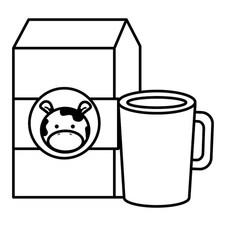 A coffee cup with milk box vector illustration design