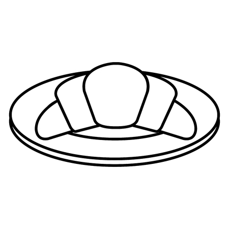 A dish with delicious croissant bread icon vector illustration design