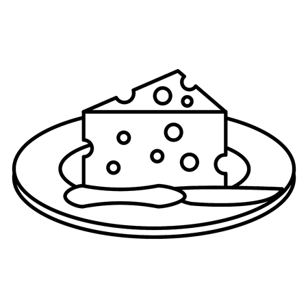 A dish with cheese piece and knife vector illustration design