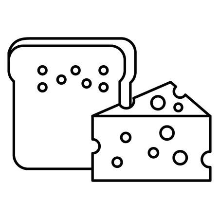 Een broodtoost met ontwerp van de kaas het vectorillustratie Stock Illustratie