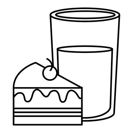 Sweet cake portion with milk glass vector illustration design.