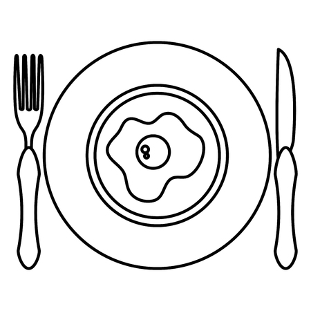 Dish and cutlery with egg fried vector illustration design. Stock Illustratie