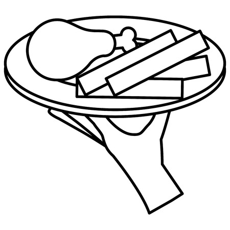 Hand server with thigh chicken and french fries vector illustration design.