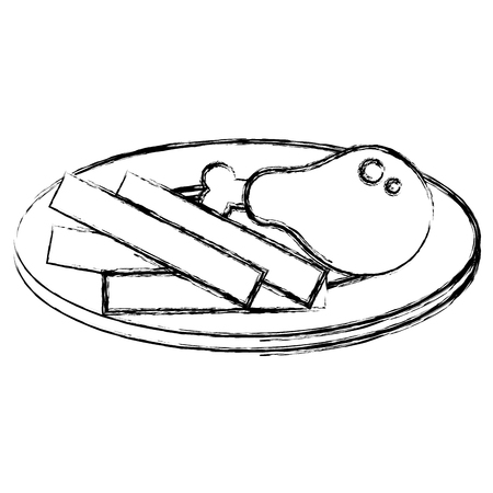 Dish with thigh chicken and french fries vector illustration design.